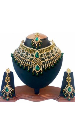 Designer Green And White Stones Work Necklace Set NNP76603