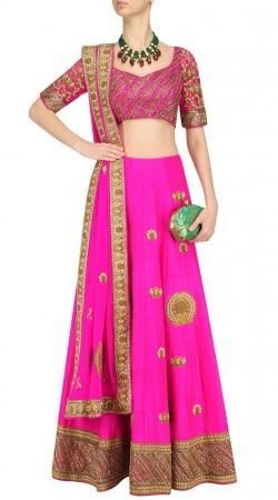 Designer Magenta Silk Plus Size Lehenga Choli SUUDL27125