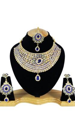 Designer Necklace Set In Blue Color Stones Work NNP79204
