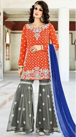 Designer Orange Crepe Silk Party Wear Sharara BP901031