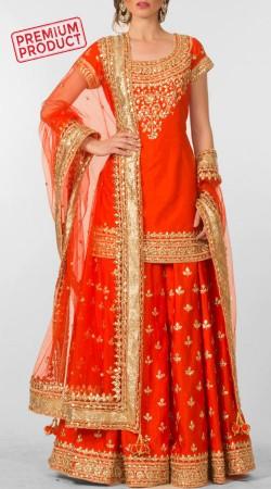 Designer Red Dupion Silk Bridal Sharara BP1245