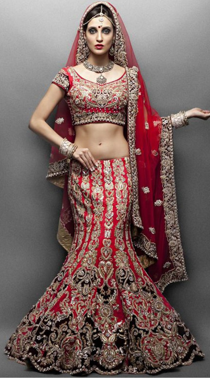 Designer Red Heavy Work Indian Wedding Dress Bridal Lehenga SM2304