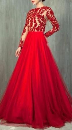 Designer Red Net Embroidery Work Cinderella Gown BP2630