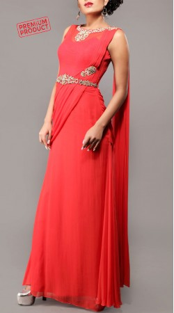 Designer Red Party Wear Saree Gown BP0746