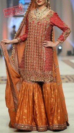 Designer Red Satin Silk Sharara With Hand Work SM0506