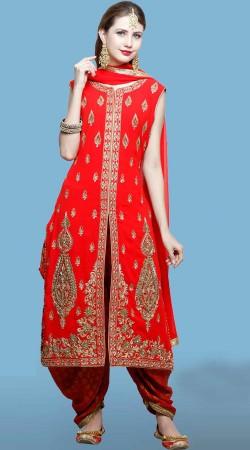 Designer Red Silk Heavy Work Punjabi Bridal Suit DT10561
