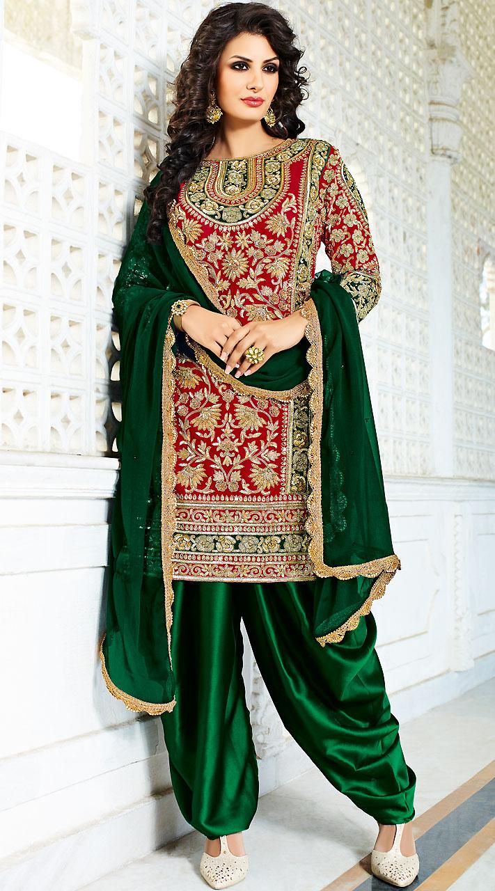 Red Silk Punjabi Bridal Suit With Green Dupatta BP900131