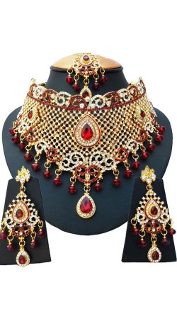 Designer Red Stones Work Necklace Set For Party NNP77603
