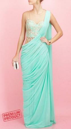Designer Sea Green Saree Gown With Hand Work BP0246