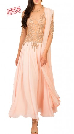 Designer Soft Pink Chiffon Ankle Length Anarkali Suit BP2534