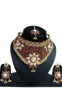 Designer Stone work Necklace Set With Maang Tika NNP83107