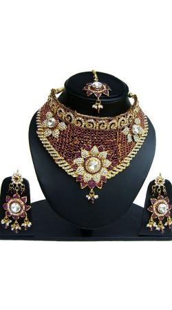 Designer Stone work Necklace Set With Maang Tika NNP83107