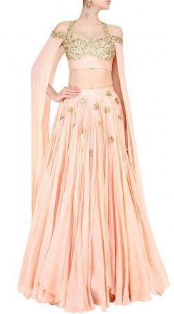 Desirable Crush Light Peach Lehenga With Extra Long Sleeves Stylish Choli SUUDL17818
