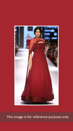 Desirable Maroon Designer Gown With Marsala Sheer Cape BP0627