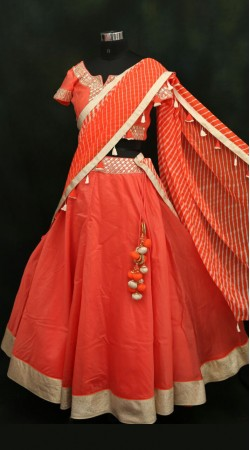 Desirable Orange Chanderi Lehenga With Georgette Leheriya Dupatta SMA202