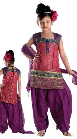 Desirable Pink Kids Girl Bolero Style Kameez With Patiala Salwar TL602228
