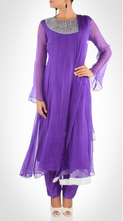 Desirable Purple Chiffon Heavy Work Neck Kameez With Parallel Pant SUMS19217