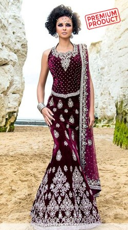 Desirable Wine Heavy Work Designer Mermaid Cut Lehenga SM0701