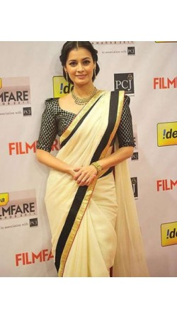 Dia Mirza Cream Cotton bollywood Saree With Blouse IB00111