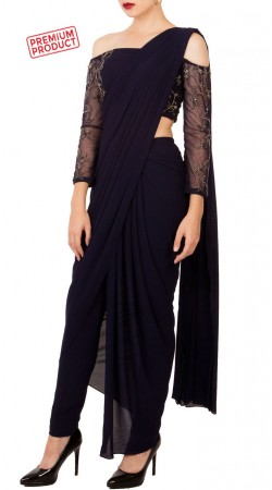 Midnight Blue Drape Saree With Off Shoulder Blouse BP1234