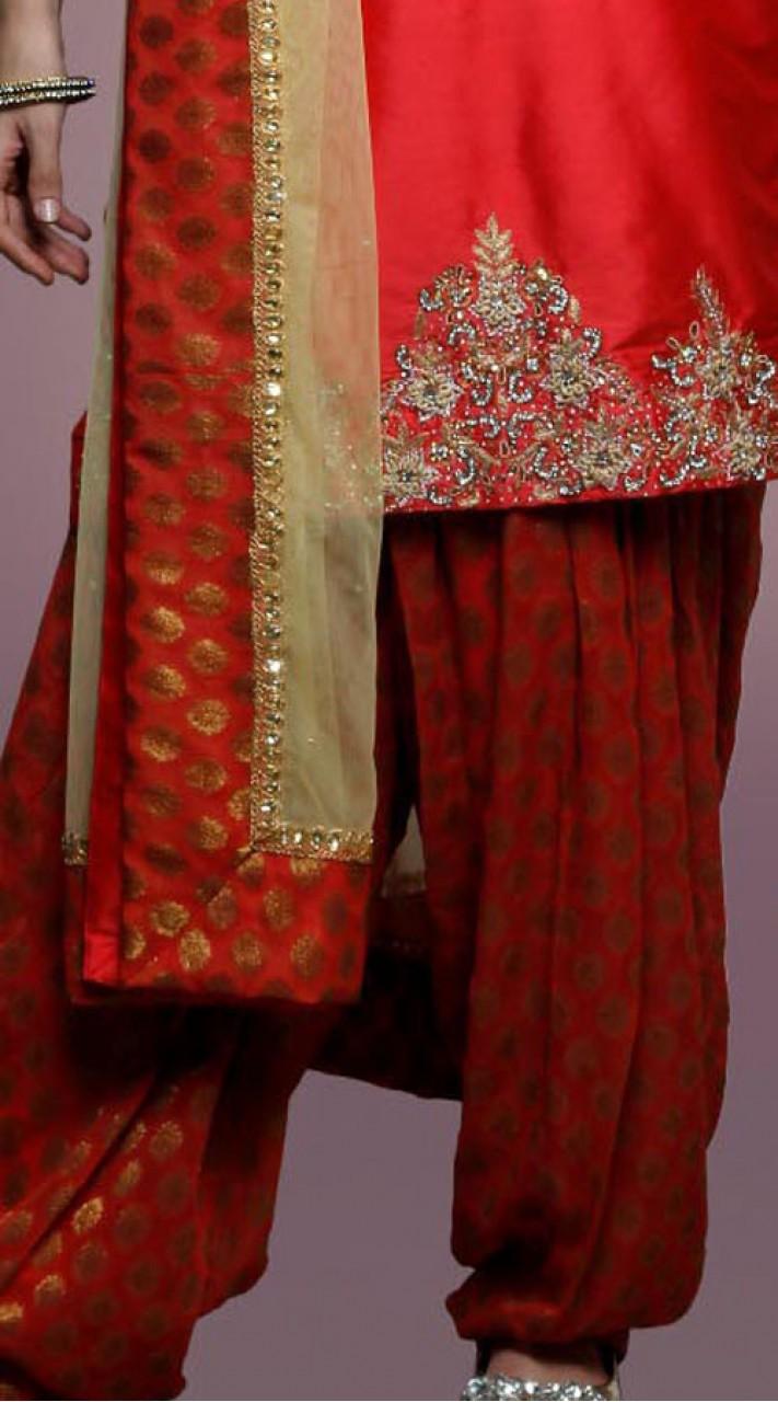 Red Silk Punjabi Bridal Suit With Matching Dupatta Dt10161