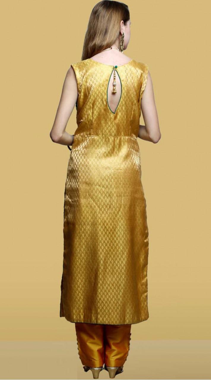 Golden Mustard Silk Designer Parallel Pant Suit Dt10861