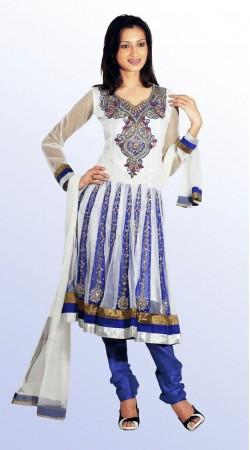 DT200457 Chic Royal Blue And Off White Net Salwaar Kameez