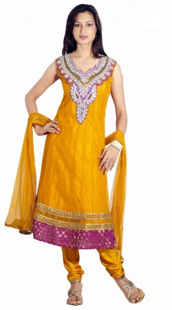 DT200757 Elegant Golden Orange Net Salwaar Kameez