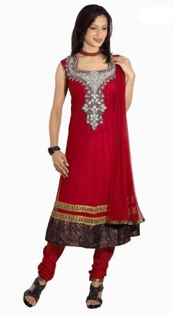 DT201157 Adorable Red Net Salwaar Kameez