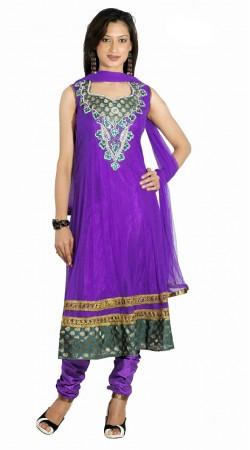 DT201457 Chic Purple Net Salwaar Kameez