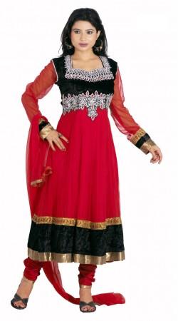DT201957 Elegant Crimson Net Salwaar Kameez