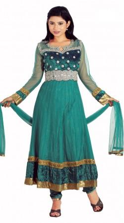 DT202157 Adorable Teal Green Net Salwaar Kameez