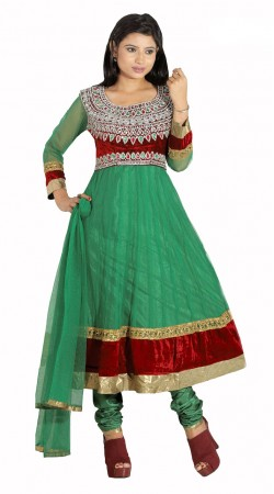 DT202257 Stylish Light Green And Red Net Salwaar Kameez