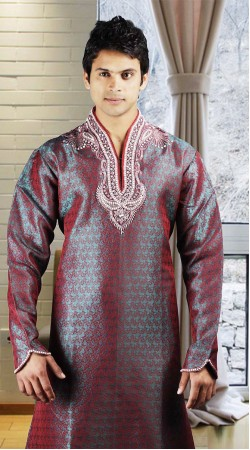 DTDKP1023 Luscious Greyish Blue And Red Readymade Kurta Pyjama
