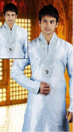 DTDKP1623 Ethnic Greyish Blue Readymade Kurta Pyjama