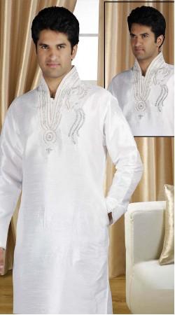 DTDKP1823 Luscious Off White Readymade Kurta Pyjama