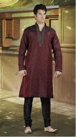 DTDKP2123 Mesmerizing Indian Red And Black Readymade Kurta Pyjama