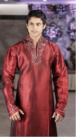 DTDKP323 Glamorous Dark Red Readymade Kurta Pyjama