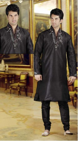 DTDKP423 Alluring Black Readymade Kurta Pyjama