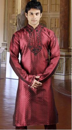 DTDKP823 Ethnic Indian Red Readymade Kurta Pyjama