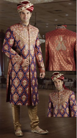 DTWS1072 Orange Brown And Beige Italian Suiting Material Readymade Sherwani