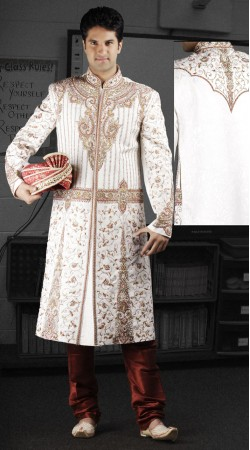 DTWS1172 Off White And Indian Red Italian Suiting Material Readymade Sherwani