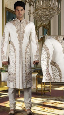 DTWS1272 Off White Italian Suiting Material Readymade Sherwani