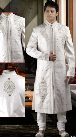 DTWS1372 Off White Italian Suiting Material Readymade Sherwani