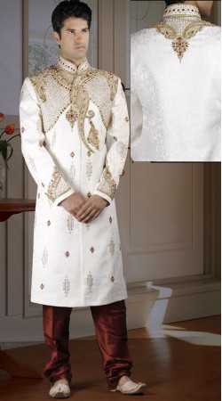 DTWS1472 Off White And Indian Red Italian Suiting Material Sherwani