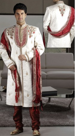DTWS172 Off White And Red Italian Suiting Material Readymade Sherwani