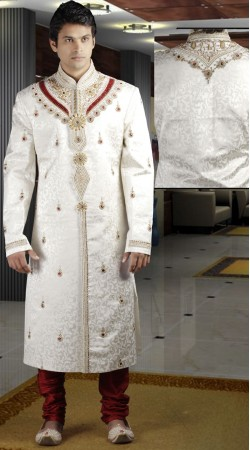 DTWS272 Off White And Indian Red Italian Suiting Material Readymade Sherwani
