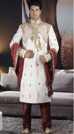 DTWS372 Off White And Indian Red Italian Suiting Material Readymade Sherwani