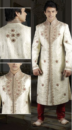 DTWS472 Off White And Red Italian Suiting Material Readymade Sherwani