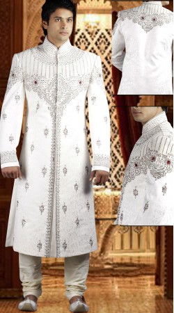 DTWS572 Off White Italian Suiting Material Readymade Sherwani